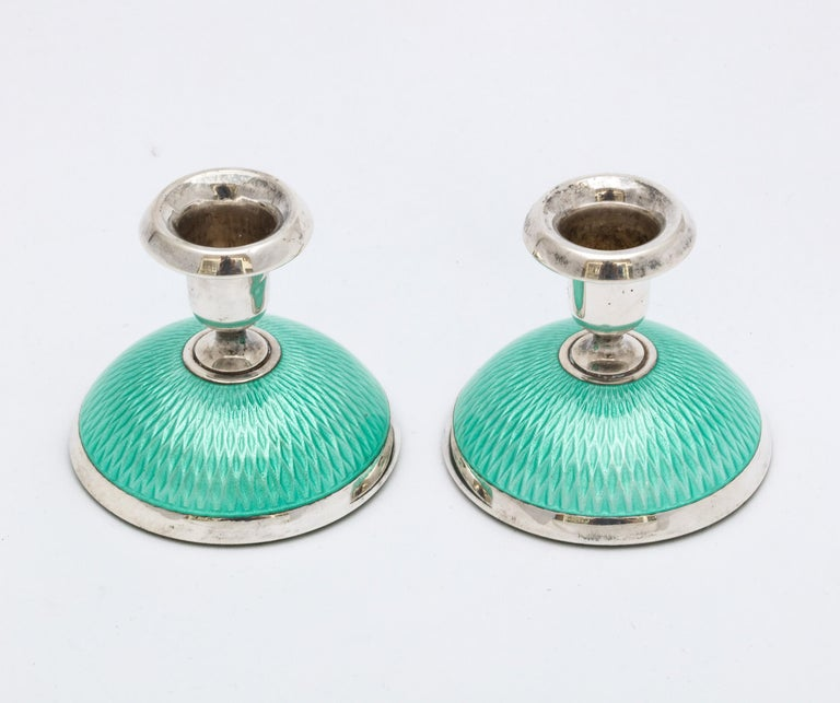 Pair of Art Deco Norwegian Sterling Silver and Turquoise Enamel Candlesticks For Sale 7