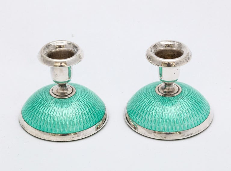 Pair of Art Deco Norwegian Sterling Silver and Turquoise Enamel Candlesticks In Good Condition For Sale In New York, NY