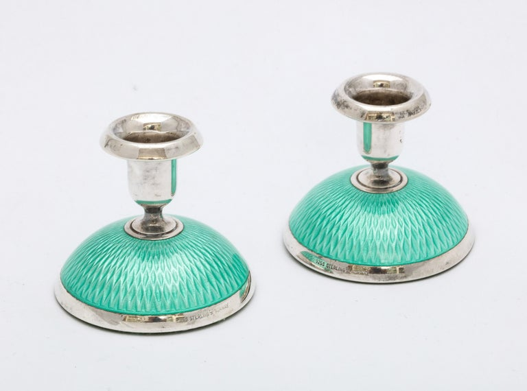 Pair of Art Deco Norwegian Sterling Silver and Turquoise Enamel Candlesticks For Sale 1