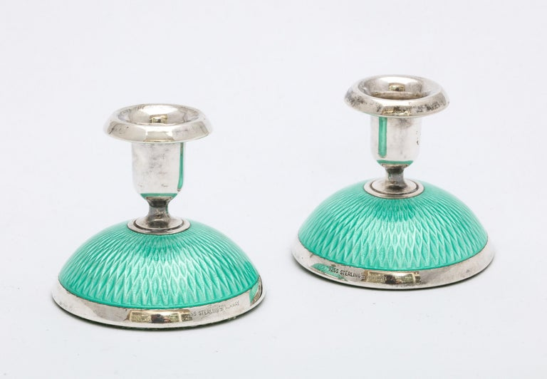 Pair of Art Deco Norwegian Sterling Silver and Turquoise Enamel Candlesticks For Sale 2