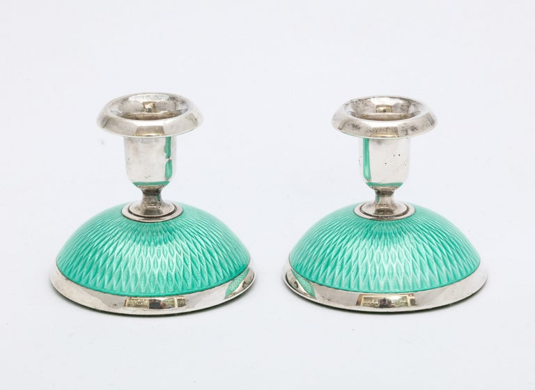 Pair of Art Deco Norwegian Sterling Silver and Turquoise Enamel Candlesticks For Sale 3