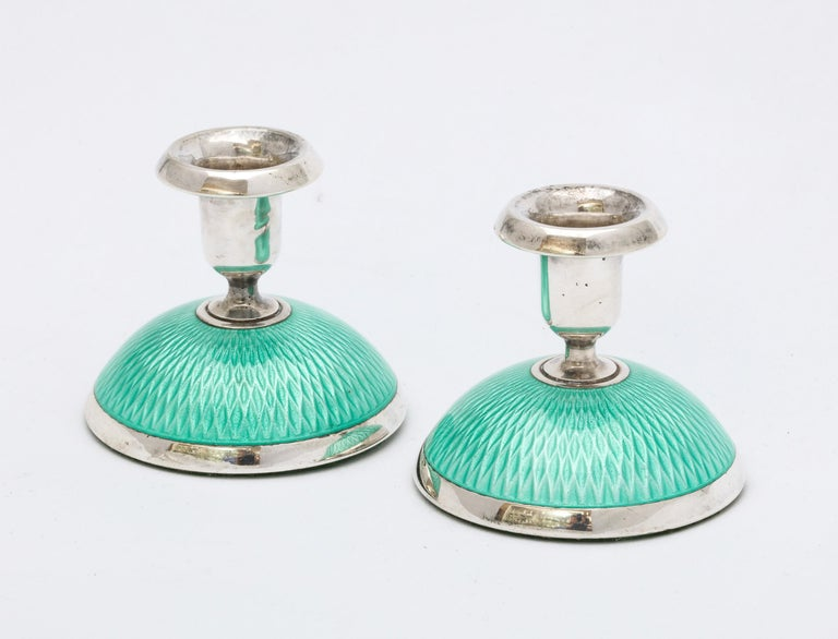 Pair of Art Deco Norwegian Sterling Silver and Turquoise Enamel Candlesticks For Sale 4