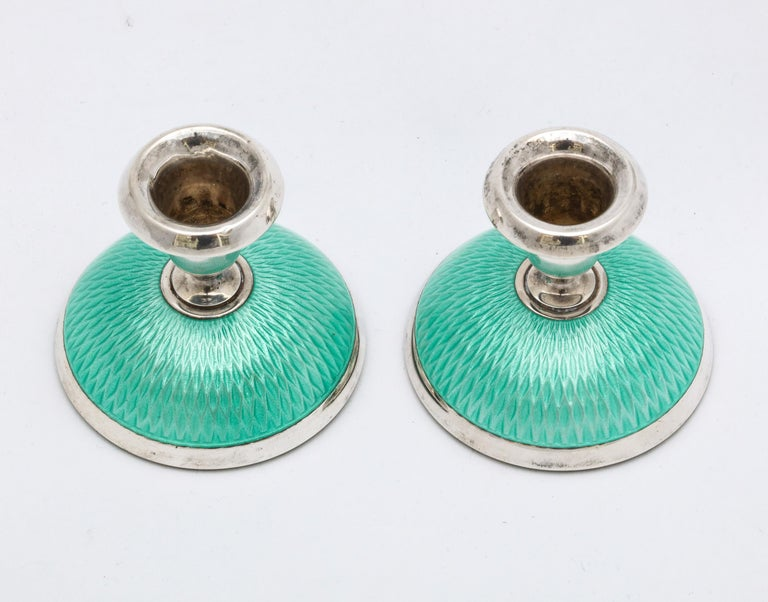 Pair of Art Deco Norwegian Sterling Silver and Turquoise Enamel Candlesticks For Sale 5