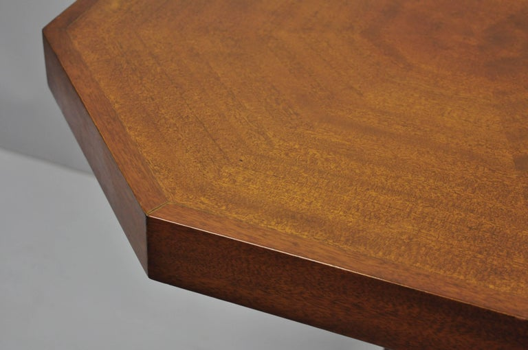 Pair of Art Deco Octagonal Mahogany & Lucite Pedestal Side Tables Grosfeld House For Sale 4