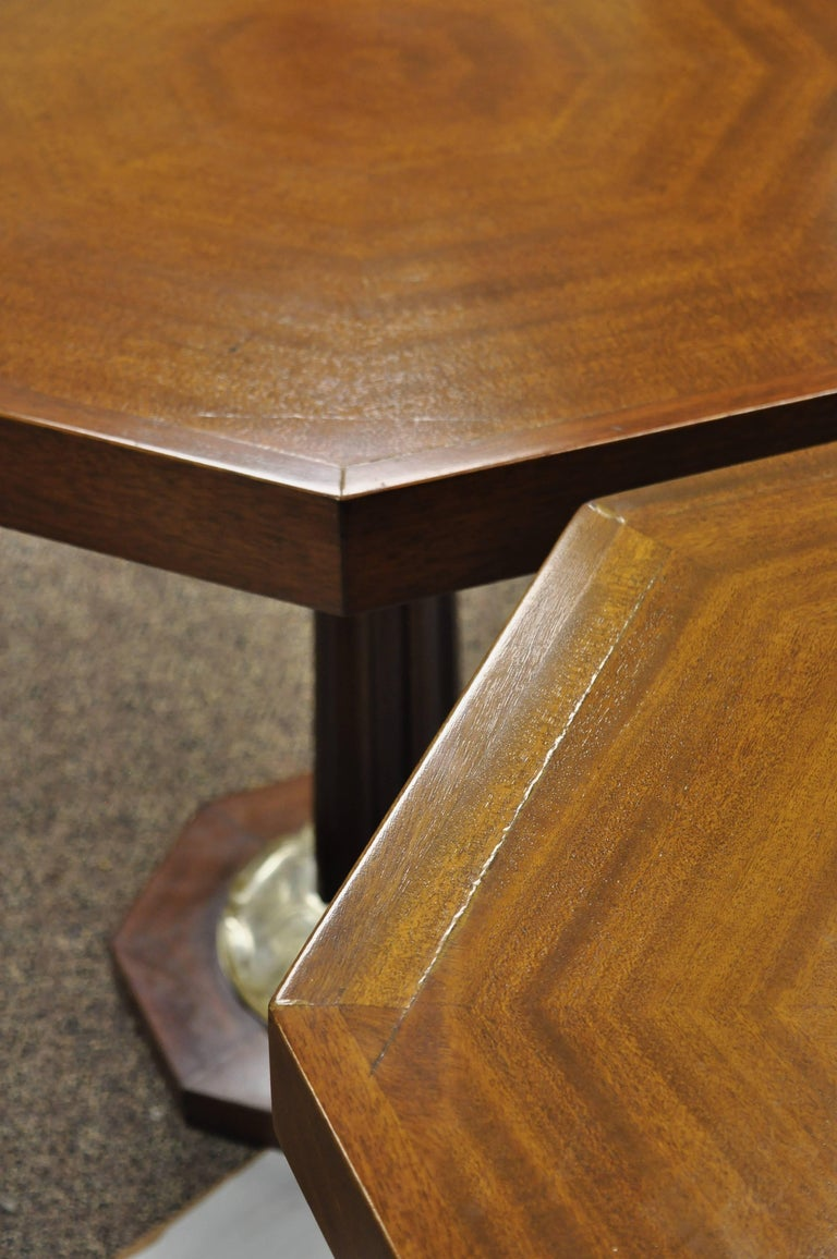 Pair of Art Deco Octagonal Mahogany & Lucite Pedestal Side Tables Grosfeld House For Sale 6