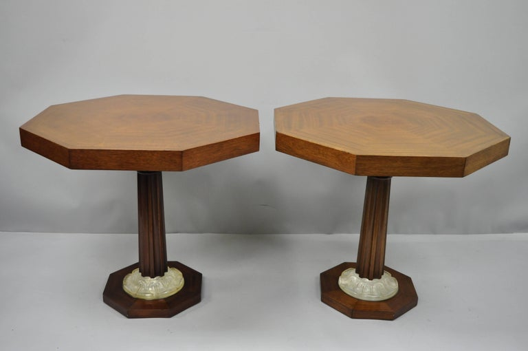 Pair of Art Deco Octagonal Mahogany & Lucite Pedestal Side Tables Grosfeld House For Sale 9