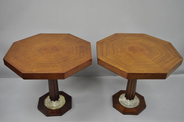American Pair of Art Deco Octagonal Mahogany & Lucite Pedestal Side Tables Grosfeld House For Sale