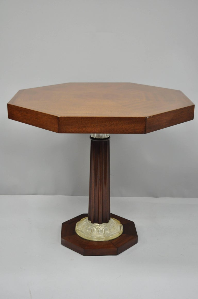 Acrylic Pair of Art Deco Octagonal Mahogany & Lucite Pedestal Side Tables Grosfeld House For Sale
