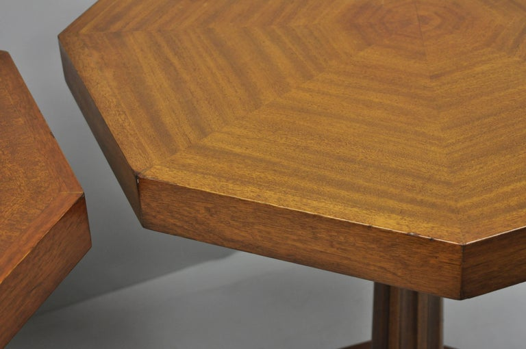 Pair of Art Deco Octagonal Mahogany & Lucite Pedestal Side Tables Grosfeld House For Sale 2