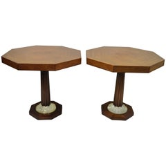 Pair of Art Deco Octagonal Mahogany & Lucite Pedestal Side Tables Grosfeld House