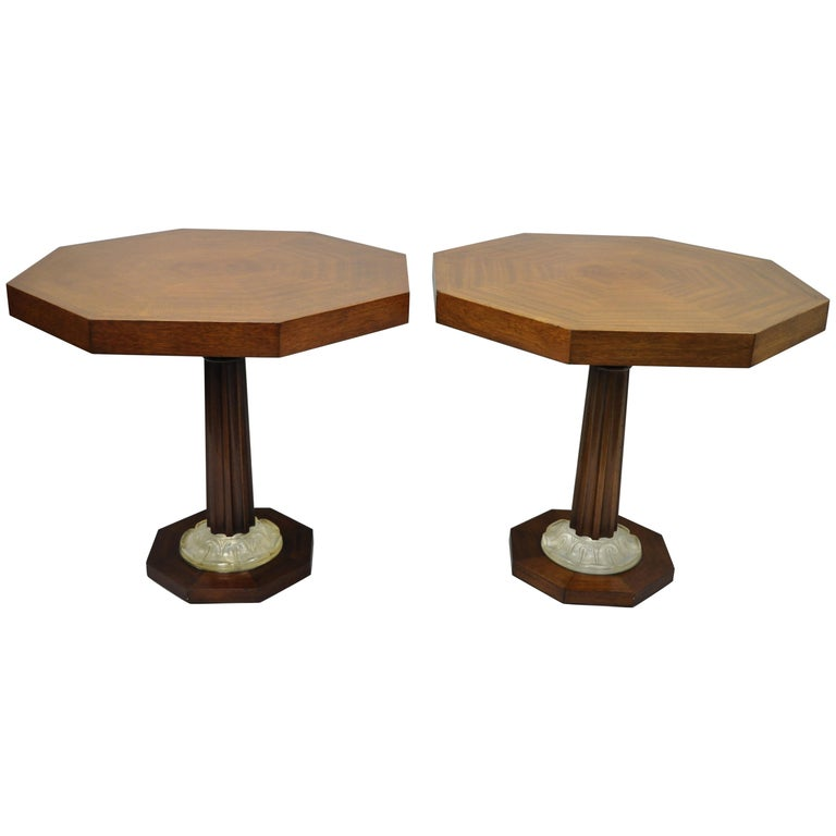 Pair of Art Deco Octagonal Mahogany & Lucite Pedestal Side Tables Grosfeld House For Sale