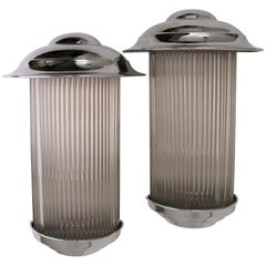 Pair of Art Deco Odeon Style Wall Lights Chrome with Original Glass Rods
