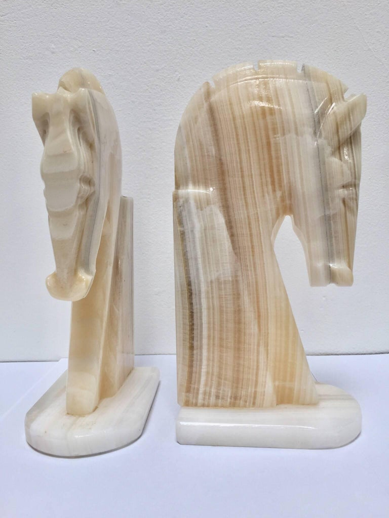 Italian Pair of Art Deco Onyx Horses Heads Bookends For Sale