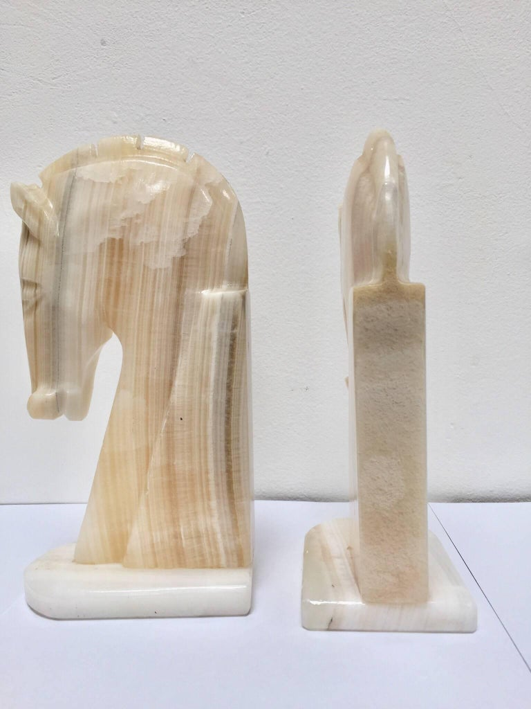 Pair of Art Deco Onyx Horses Heads Bookends In Good Condition For Sale In Los Angeles, CA