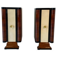 Pair of Art Deco Parchment and Walnut Cabinets, 1930s
