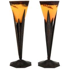 Pair of Art Deco Pate de Verre and Wrought Iron Table Lamps Degué & ROBJ, 1925