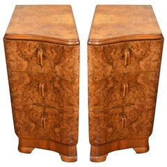Pair of Art Deco Period Burled Walnut Side Tables with Finished Outside Panels