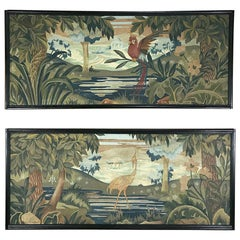 Pair of Art Deco Period Flemish Framed Tapestries