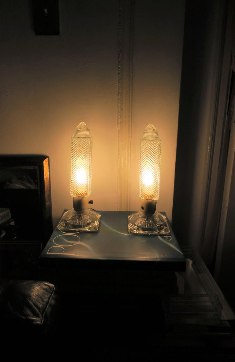 Art Deco Period Glass Table or Bedside Lamps, Pair For Sale 9