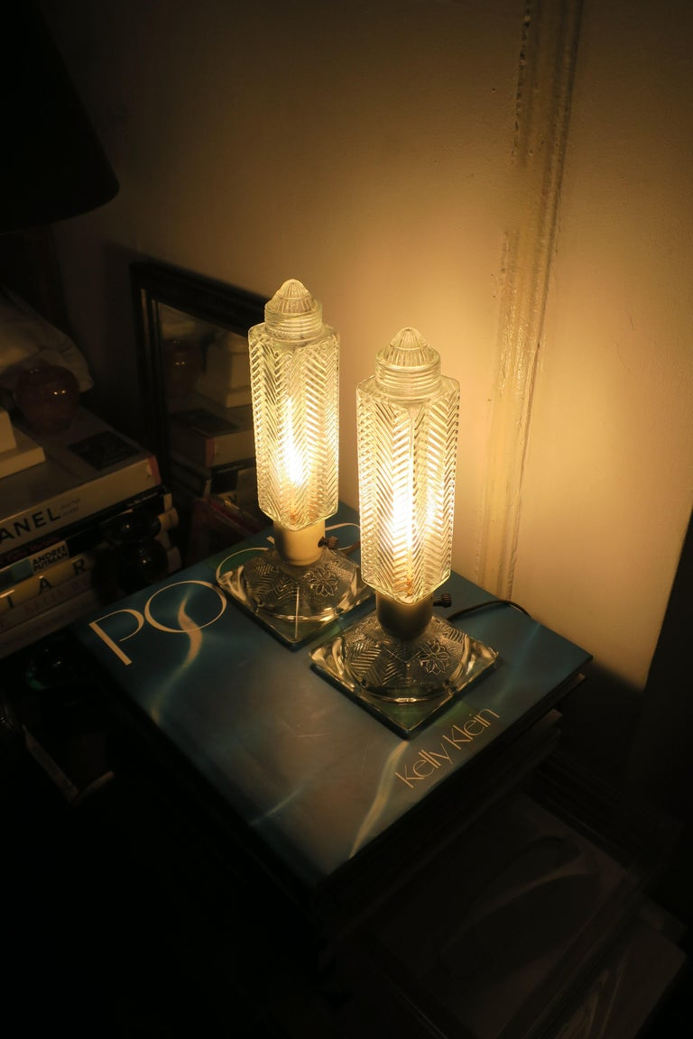 Mid-20th Century Art Deco Period Glass Table or Bedside Lamps, Pair For Sale