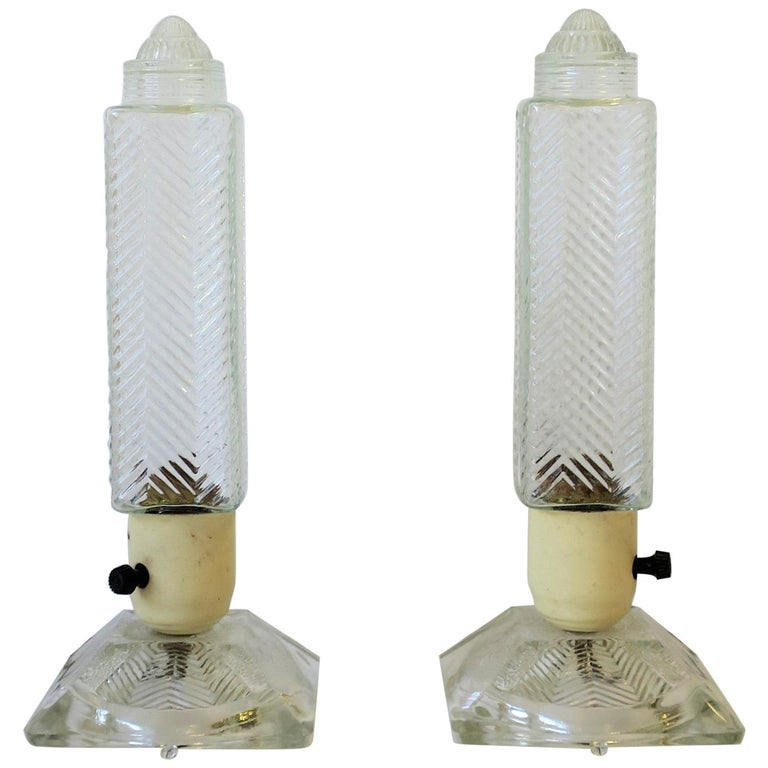 Art Deco Period Glass Table or Bedside Lamps, Pair For Sale