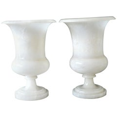 Pair of Art Deco Period White Marble Urns Converted to Table Lamps