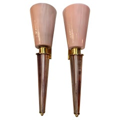 Pair of Art Deco Pink Conical Murano Wall Sconces, Brass Fittings, 1940s