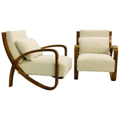 Pair of Art Deco Plating Walnut Armchairs