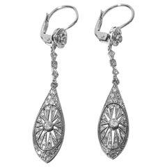 Pair of Art Deco Platinum and Diamond Drop Earrings, circa 1920