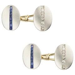 Pair of Art Deco Platinum and Yellow Gold Gemset Cufflinks