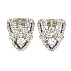 Pair of Art Deco, Platinum, Diamond and Sapphire Clip Brooches