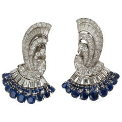 Pair of Art Deco Platinum, Sapphire, Diamond Fan Shaped Ear Clips