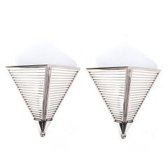 Pair of Art Deco Polished Nickel and Striped Glass Sconces