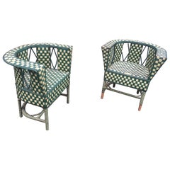Pair of Art Deco Rattan Armchairs, circa 1930