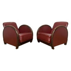 Pair of Art Deco Reclining Leather and Walnut Lounge Chairs, Ca. 1930s