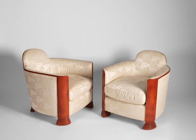 Mid-20th Century Pair of Art Deco, Red Lacquer Armchairs, France, circa 1930 For Sale