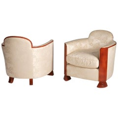 Pair of Art Deco, Red Lacquer Armchairs, France, circa 1930