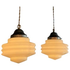 Pair of Art Deco Ridged Milk Glass Pendant Lights