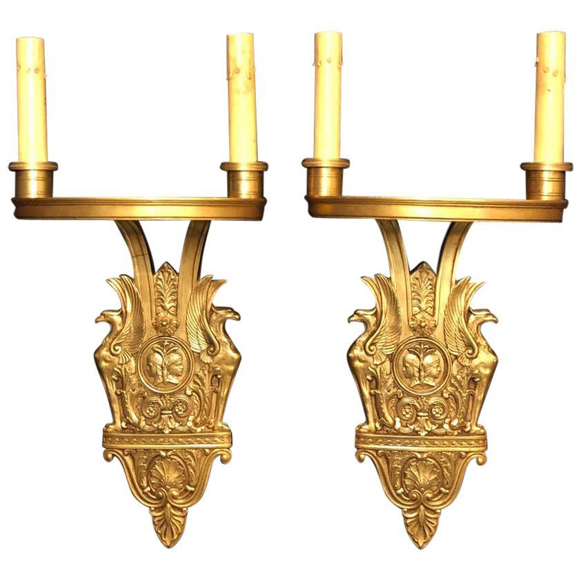 Pair of Art Deco Romanesque Gilt Bronze Sconces