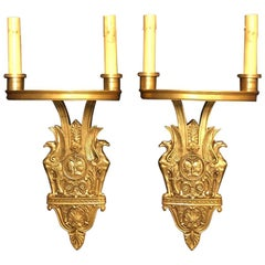 Pair of Art Deco Romanesque Gilt Bronze Sconces