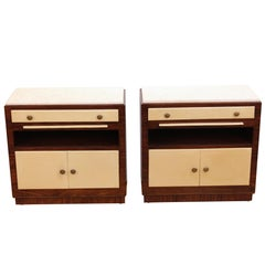 Pair of Art Deco Rosewood and Leather Nightstands with Marble Tops