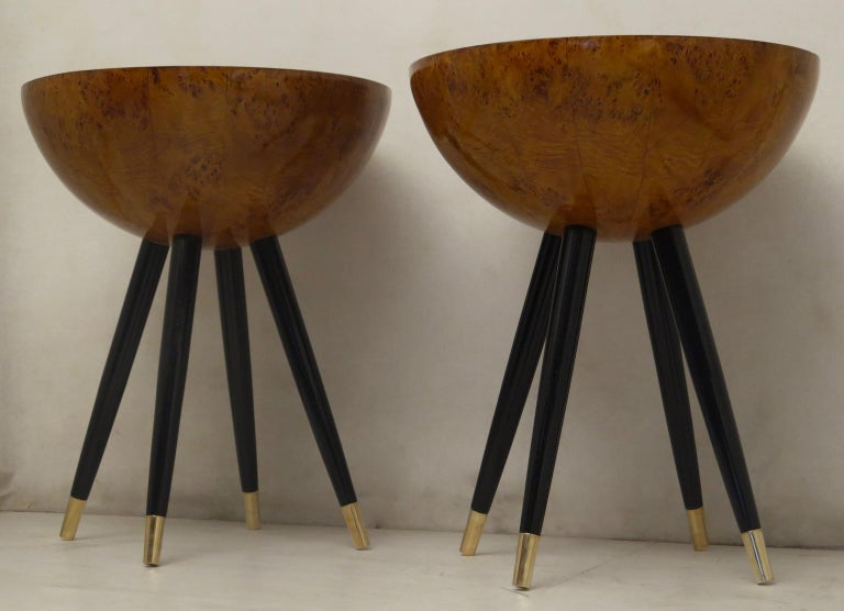 Pair of Art Deco Round Black Wood and Brass Italian Side Table, 1930 For Sale 8