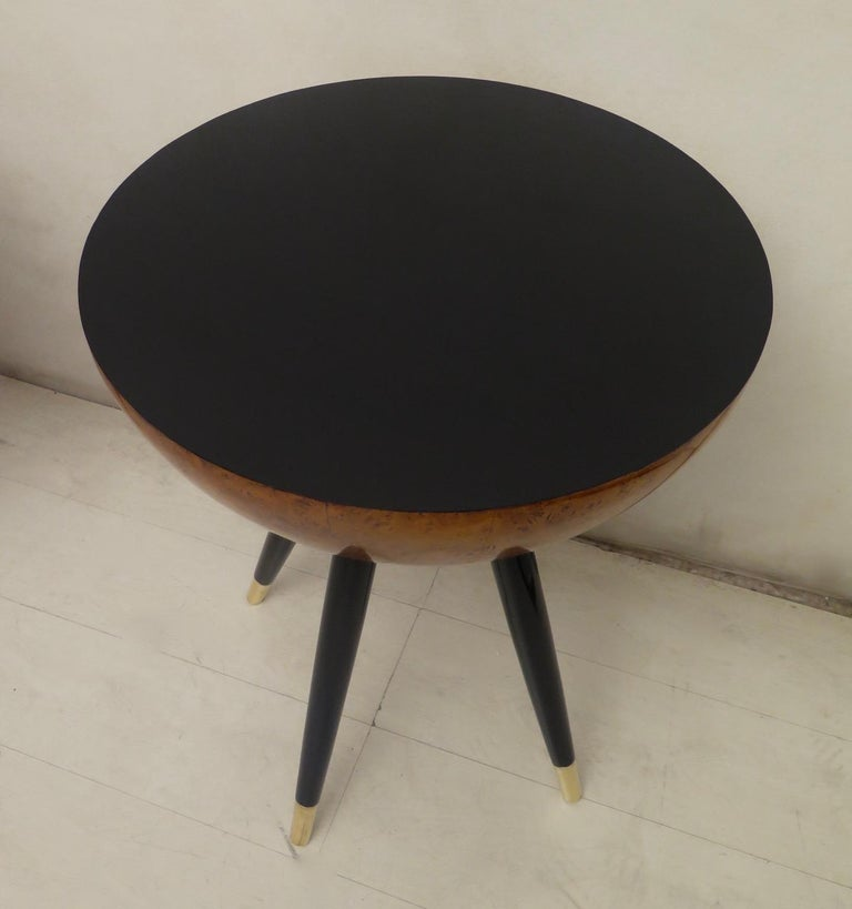 Pair of Art Deco Round Black Wood and Brass Italian Side Table, 1930 For Sale 9