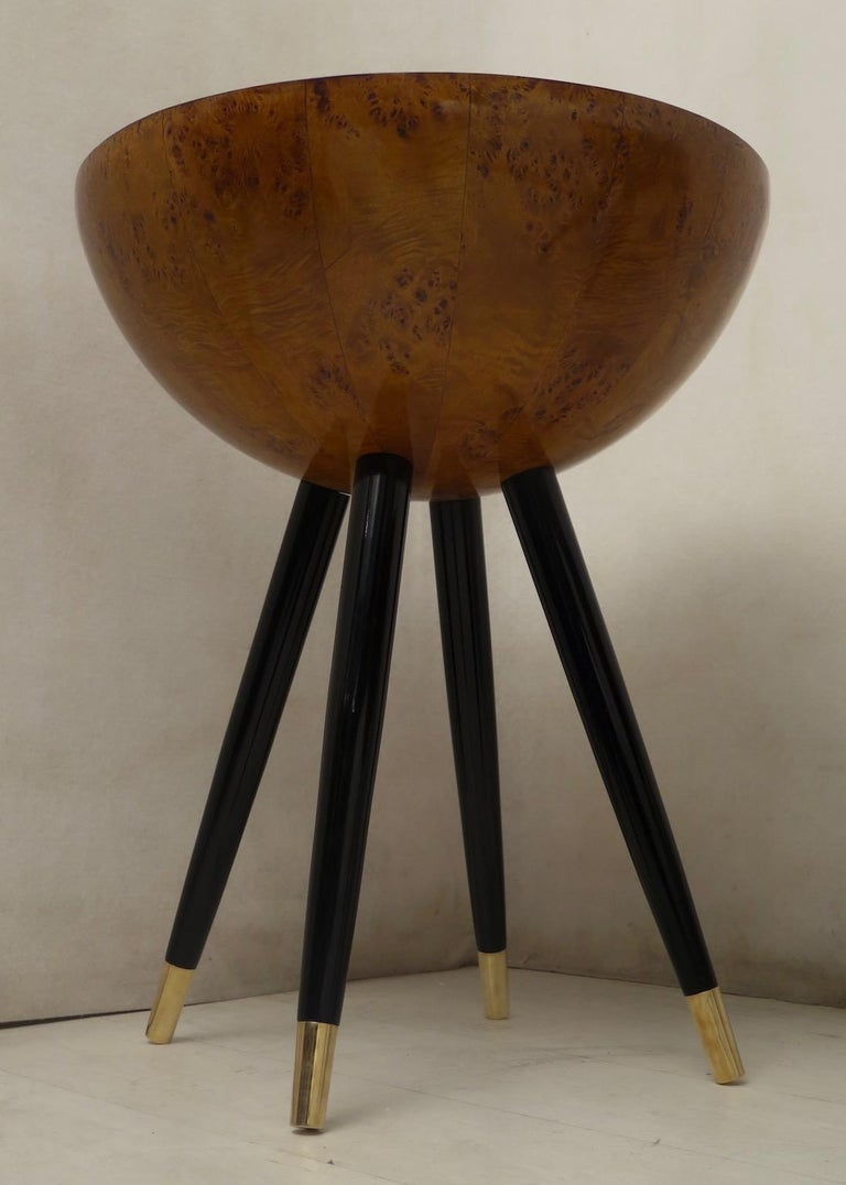 Pair of Art Deco Round Black Wood and Brass Italian Side Table, 1930 For Sale 12
