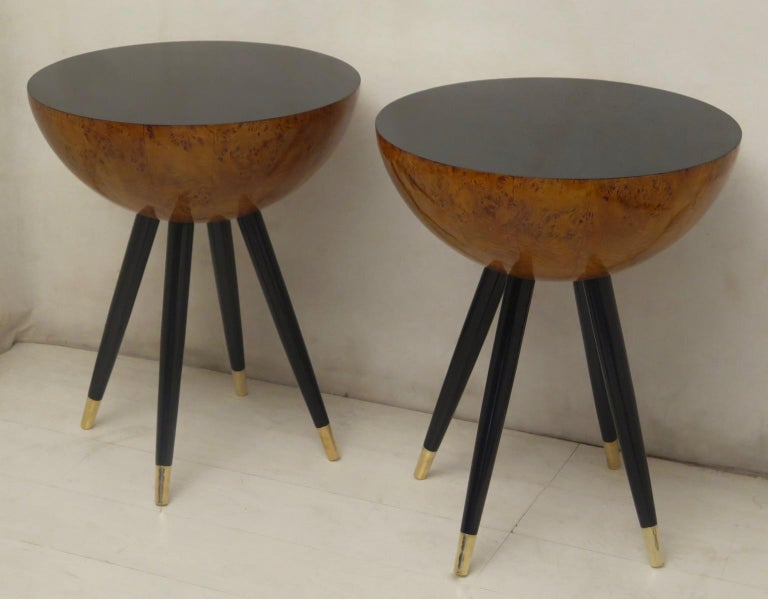 Pair of Art Deco Round Black Wood and Brass Italian Side Table, 1930 For Sale 14