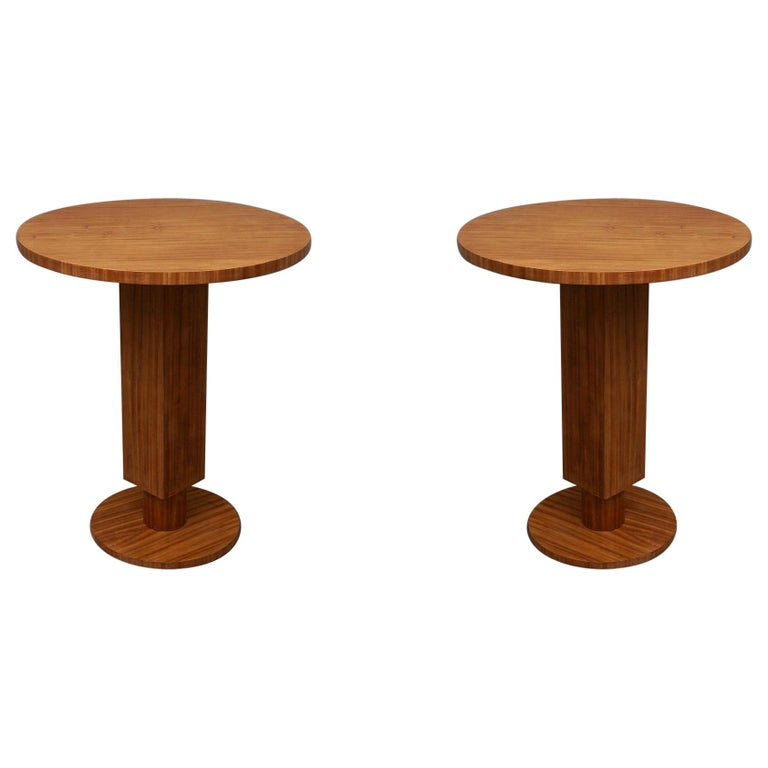Pair of Art Deco Round Cedar Wood French Side Tables, 1930