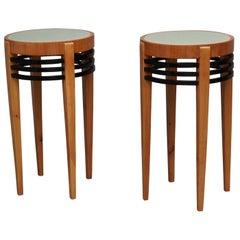 Pair of Art Deco Round Cherrywood and Glass Side Tables, 1930