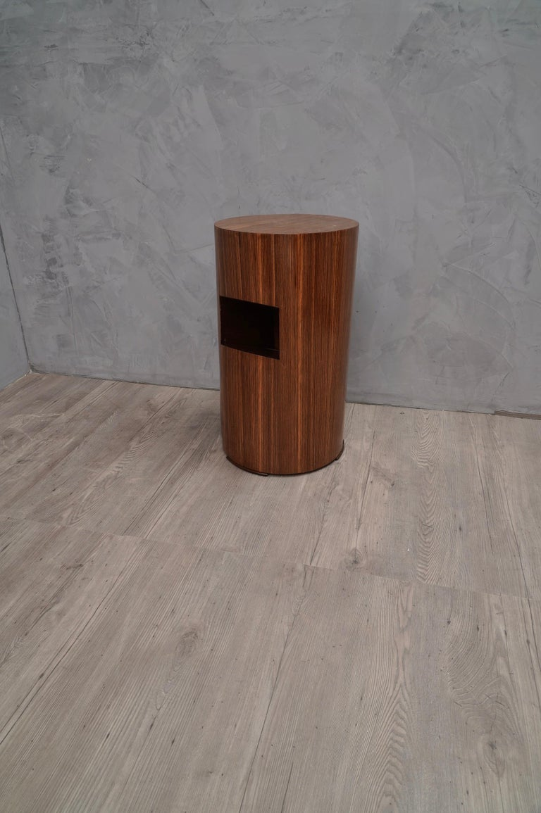 Zebra Wood Pair of Art Deco Round Magazine Holder Italian Side Tables, 1940 For Sale
