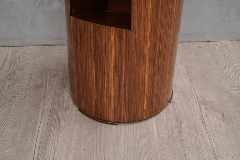 Pair of Art Deco Round Magazine Holder Italian Side Tables, 1940 For Sale 1