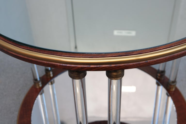 French Pair of Art Deco Round Two-Tier Side Tables For Sale